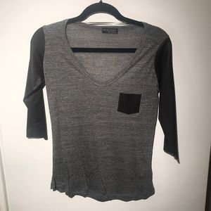Zara Grey/Black leather t shirt